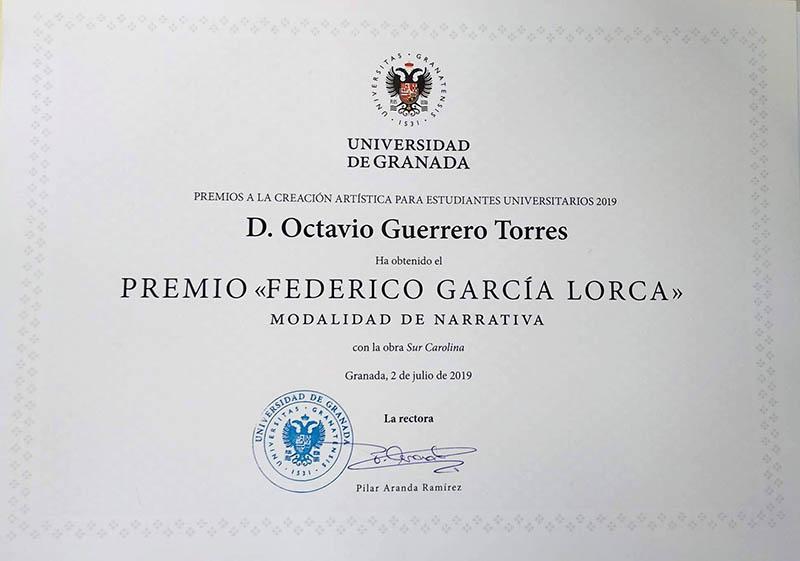 Octavio Guerrero, ganador del premio Federico García Lorca de narrativa
